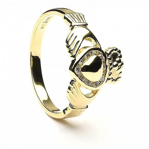 Accented Diamond Claddagh Ring
