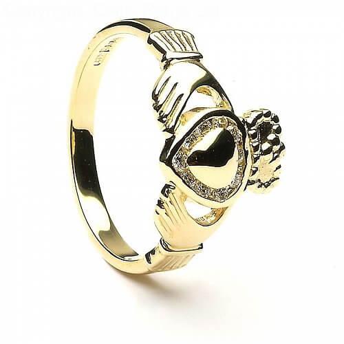 Diamant-Claddagh-Ring mit Akzent - Gelbgold