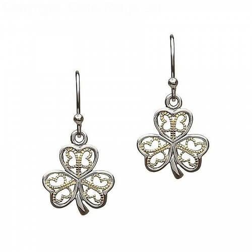 Silver Filigree Irish Shamrock Earrings