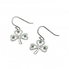 Silver Wire Emerald CZ Shamrock Earrings