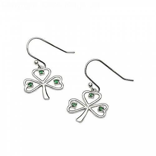 Silberdraht Smaragd CZ Kleeblatt Ohrringe | Celtic-Rings Ltd