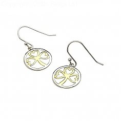 Silver Gold Plated Shamrock Earrings