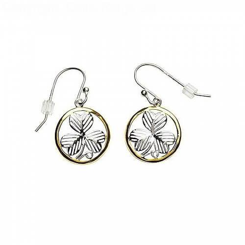 Irish Shamrock Design Silver Earrings