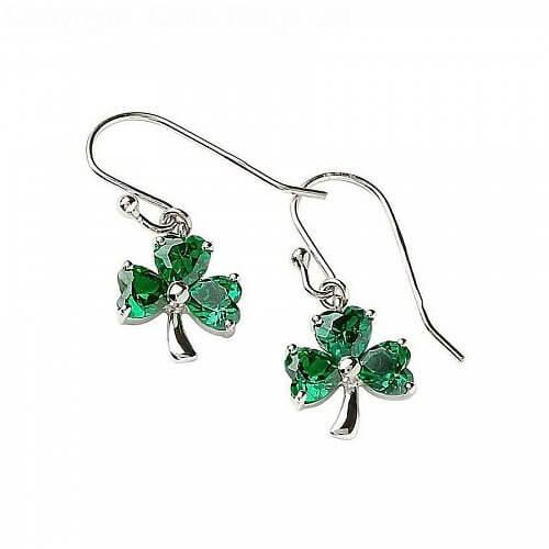 Silver Green CZ Shamrock Earrings