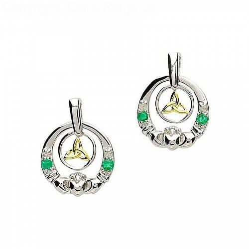 Silver Emerald Diamond Claddagh Earrings