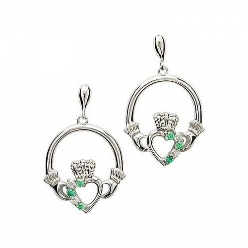 Silver Emerald CZ Claddagh Earrings