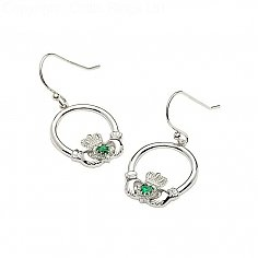 Silver Claddagh Emerald Heart Earrings