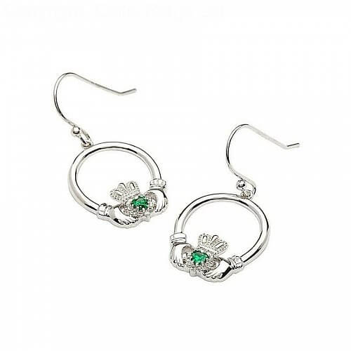 Silver Claddagh Emerald Heart Earrings