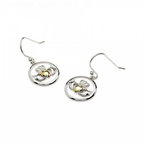 Claddagh Gold Plated Heart Earrings