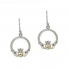 Boucles d'oreilles Claddagh argentées et dorées