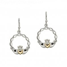 Silver Celtic Knot Claddagh Earrings