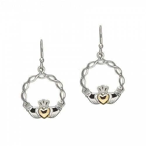 Silberne keltische Knoten Claddagh Ohrringe