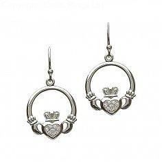 Silver CZ Heart Claddagh Earrings