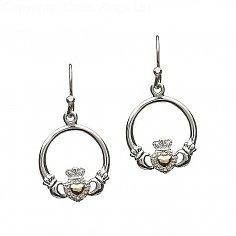 Silver Diamond Claddagh Earrings