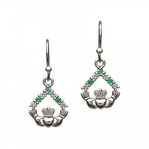 Silver Claddagh CZ Stone Set Earrings