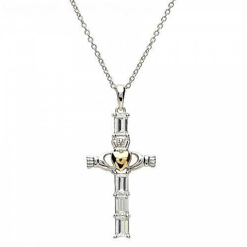 Silbernes Claddagh Kreuz mit Goldherz
