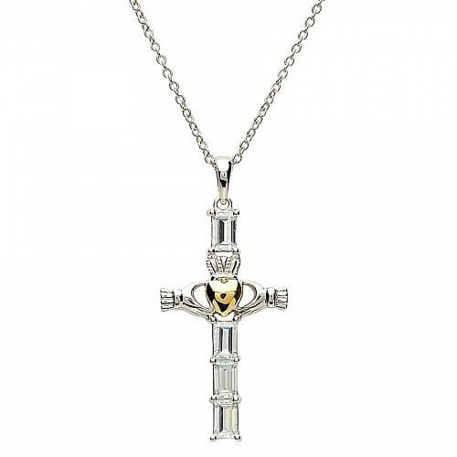 Croix d'argent Claddagh avec coeur en or