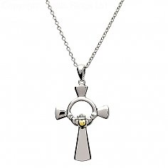 Silver Claddagh Cross with Gold Plate Heart