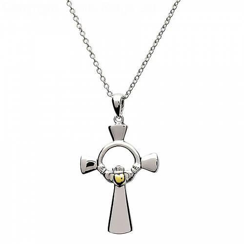Silber Claddagh Kreuz