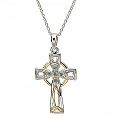 Trinity Cross with Emeralds - Silver