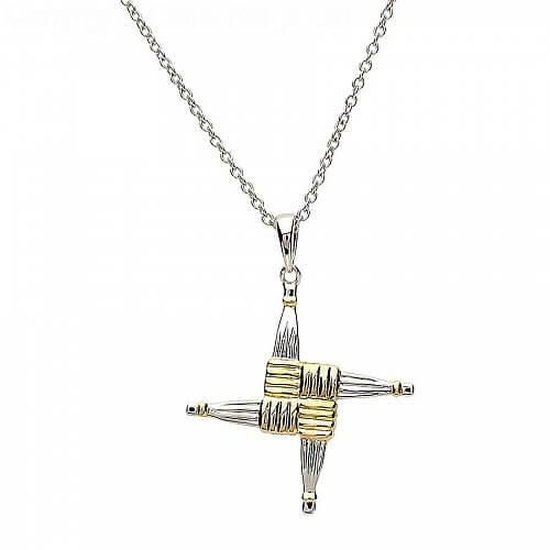 Kreuz der Heiligen Brigid - Silber & Gold vergoldet