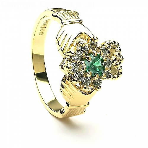 Claddagh Agate with CZ Cluster - Yellow Gold