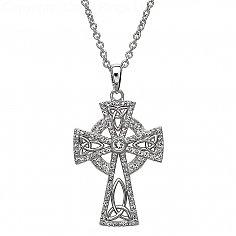 Kreuz mit Swarovski-Kristallen - Silber