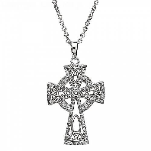 Cross with Swarovski Crystals - Silver