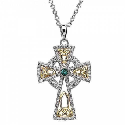 Gold Plated Cross with Crystals - Silver