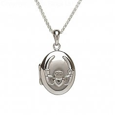 Silver Embossed Claddagh Locket