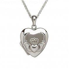 Silbernes Herzförmiges Claddagh Medaillon