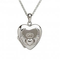 Silver Heart Shaped Claddagh Locket