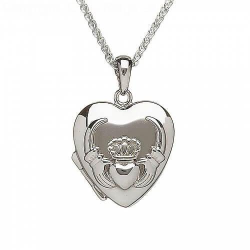 Silver Heart Shaped Claddagh Locket