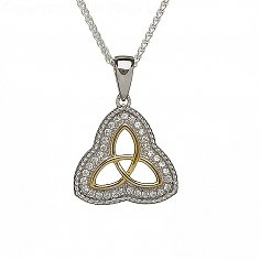 Rope Etched CZ Trinity Pendant
