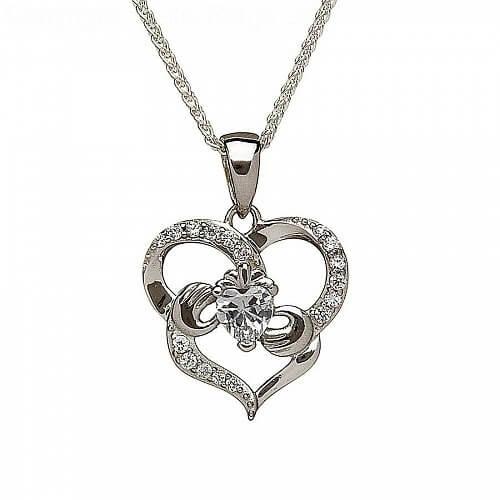 Pendentif Claddagh CZ en forme de coeur