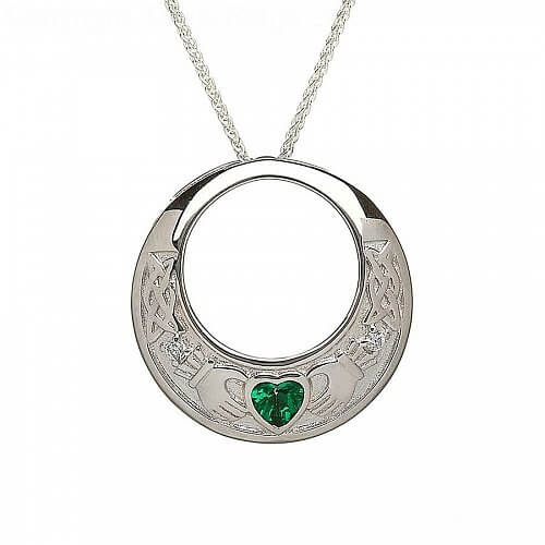 Emerald Green Claddagh Pendant
