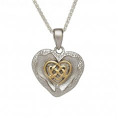 Pendentif en forme de coeur celtique brossé