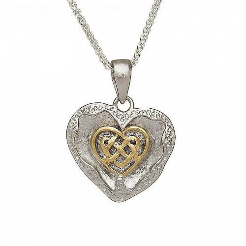 Brushed Celtic Heart Shape Pendant