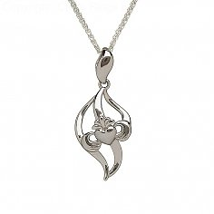 Curved Silver Claddagh Pendant