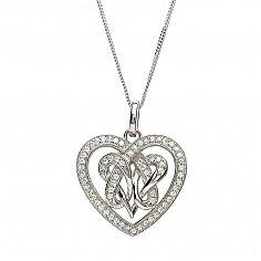 Intertwined Heart Shaped CZ Pendant