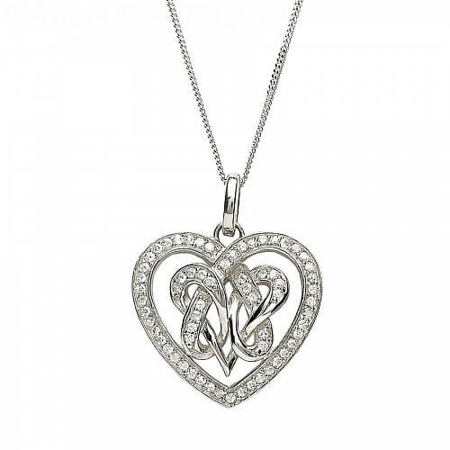 Intertwined Heart Shaped CZ Pendant