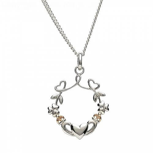 Shamrock Heart Claddagh Pendant