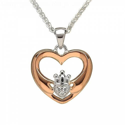 Rose Gold Plated Modern Claddagh Pendant