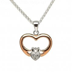 Rose Gold Plated CZ Claddagh Pendant