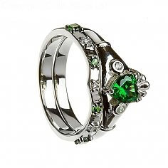 Emerald Claddagh with Matching Band - Silver