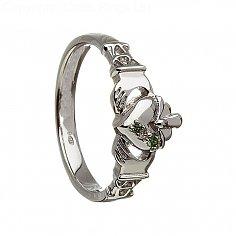 Damen Drei Stein Claddagh Ring