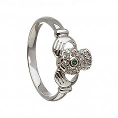 Emerald and Diamond Cluster Claddagh Ring - White Gold