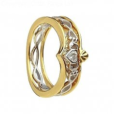 10K Gold and Silver Claddagh Ring