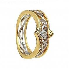 10 Karat Gold und Silber Claddagh Ring - Gelbes Gold