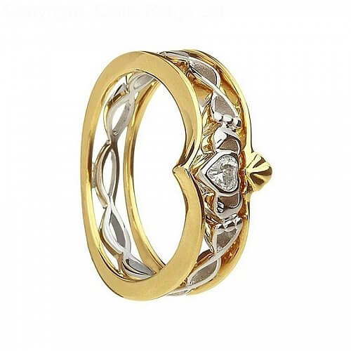 10K Gold and Silver Claddagh Ring - Yellow Gold